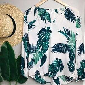 Old Navy Palm Print Long Sleeve Top